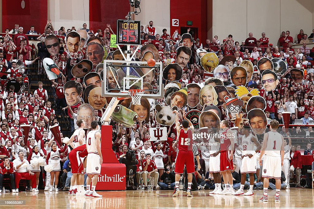 Indiana Hoosiers fans try to distract a free throw during the game against the Wisconsin Badgers at Assembly Hall on January 15, 2013 in Bloomington, Indiana. Wisconsin defeated Indiana 64-59.