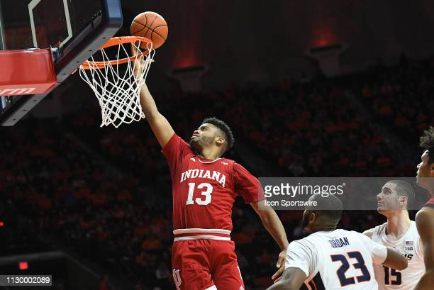 Indiana Hoosiers forward Juwan Morgan dunks the ball during the Big Ten Conference college basketball game between the Indiana Hoosiers and the...