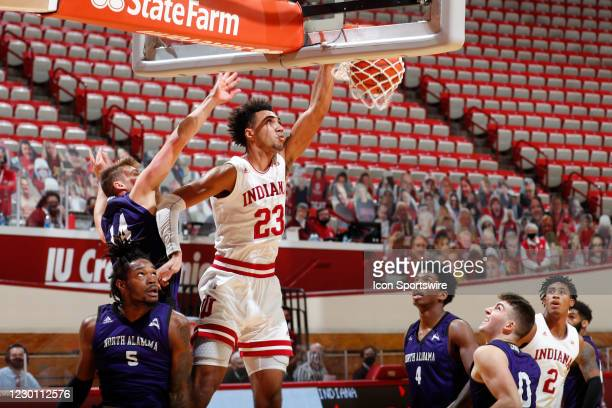 Indiana Hoosiers forward Trayce Jackson-Davis dunks against the North Alabama Lions in the first half on December 13 at Assembly Hall in Bloomington,...