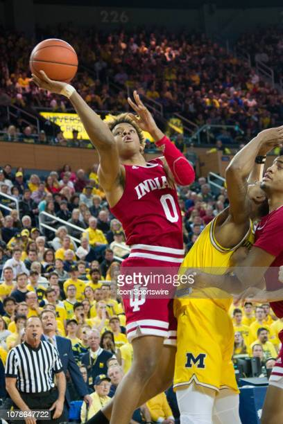 Indiana Hoosiers guard Romeo Langford hits a driving layup during the Michigan Wolverines game versus the Indiana Hoosiers on Sunday January 6, 2019...