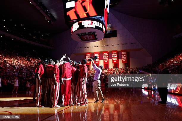 Indiana Hoosiers players huddle before the game against the Central Connecticut State Blue Devils at Assembly Hall on December 8 2012 in Bloomington...