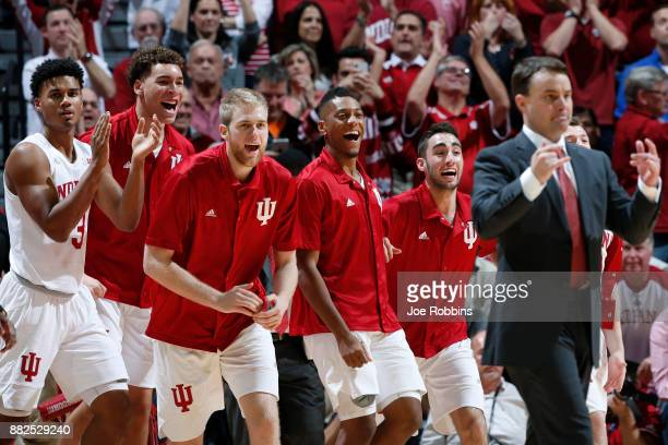 Indiana Hoosiers players react from the bench in the second half of a game against the Duke Blue Devils at Assembly Hall on November 29 2017 in...