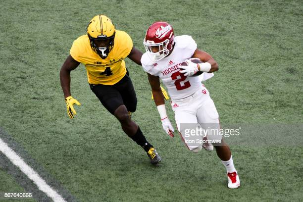 Indiana Hoosiers running back Devonte Williams runs in the second quarter against Maryland Terrapins defensive back Darnell Savage Jr on October 28...