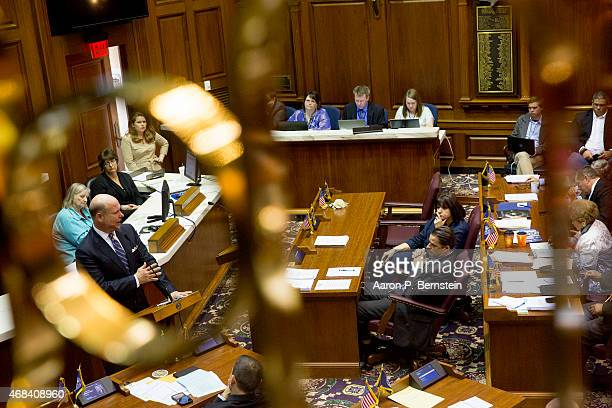 Indiana House Speaker Brian Bosma speaks to the legislature about amendments to the controversial Religious Freedom Restoration Act at the State...