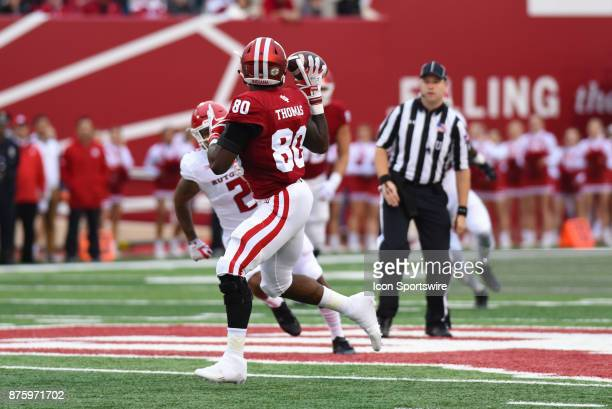 Indiana Ian Thomas catching a 57yard touchdown pass during a college football game between the Rutgers Scarlet Knights and the Indiana Hoosiers on...