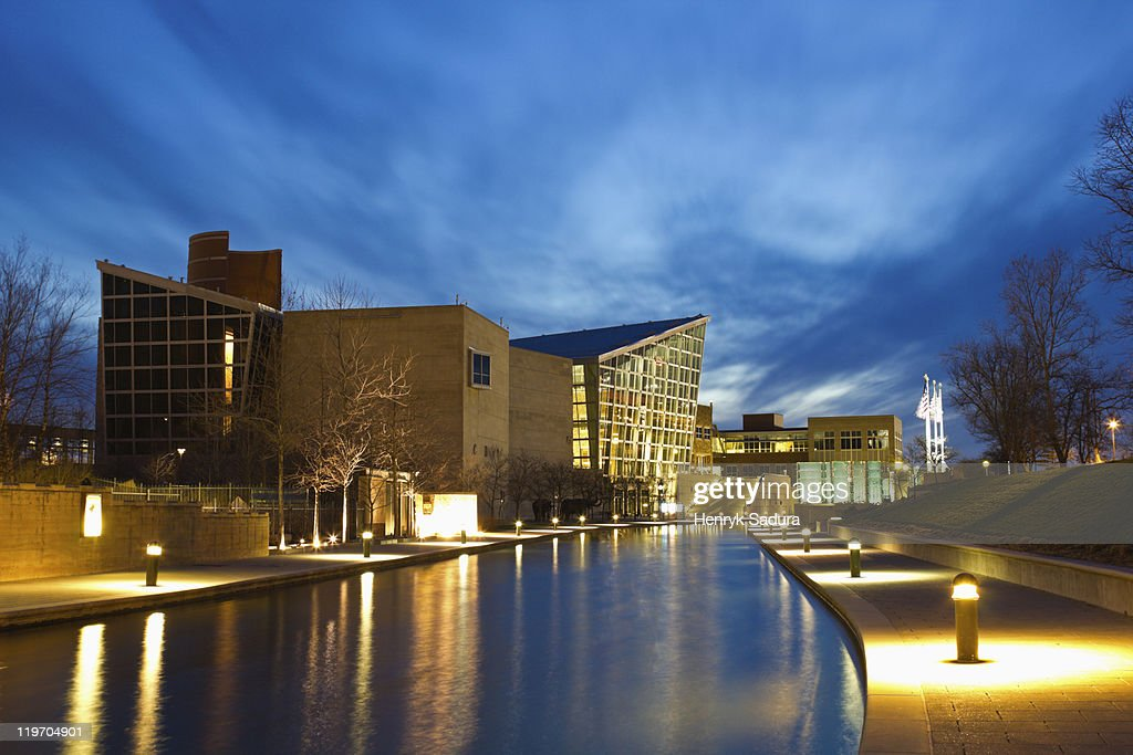 USA, Indiana, Indianapolis, Skyline with Indiana State Museum : Stock Photo