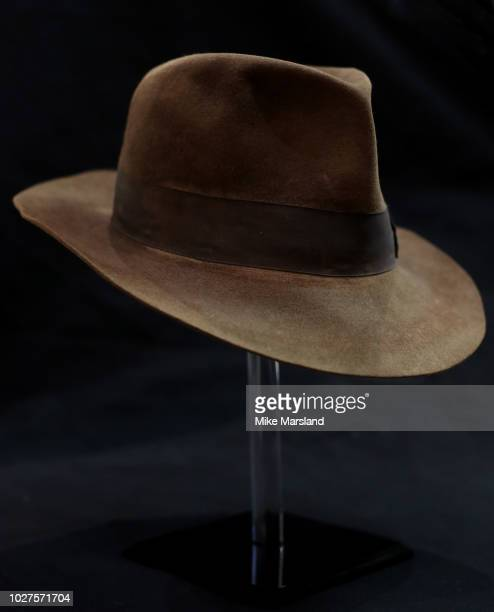 Indiana Jones hat from Raiders of the Lost Ark seen during the TV Memorabilia Auction preview Photocall at BFI IMAX on September 6 2018 in London...
