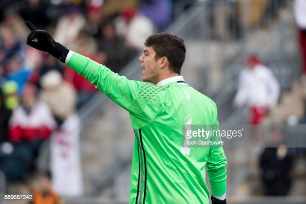 Indiana Keeper Trey Muse calls out to teammates in the second half during the College Cup game between The Stanford Cardinal and Indiana Hoosiers on...