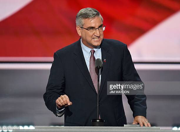 Indiana Lieutenant Governor Eric Holcomb speaks on the second day of the Republican National Convention at the Quicken Loans Arena in Cleveland on...