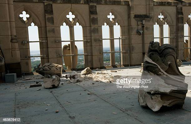 Indiana limestone is strew across the roof of the Gloria in Excelsis tower at The National Cathedral a day after a 58 magnitude earthquake rumbled...