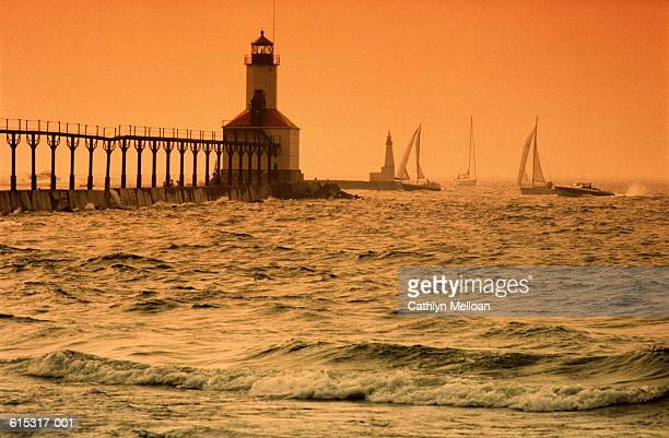 USA, Indiana, Michigan City, East Pier Lighthouse