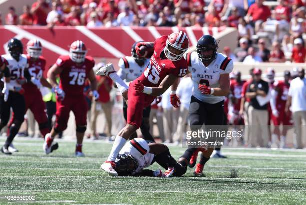 Indiana Nick Westbrook after making a catch during a college football game between the Ball State Cardinals and Indiana Hoosiers on September 15 2018...