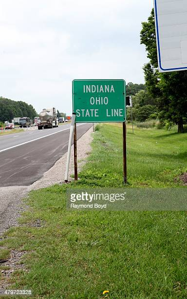 Indiana Ohio State Line along Interstate 80 East on June 18 2015 in Holiday City Ohio