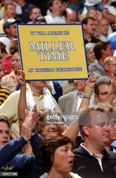 Indiana Pacer fan shows support for Reggie Miller of the Pacers in Game three of the Eastern Conference Semifinals during the 2005 NBA Playoffs on...