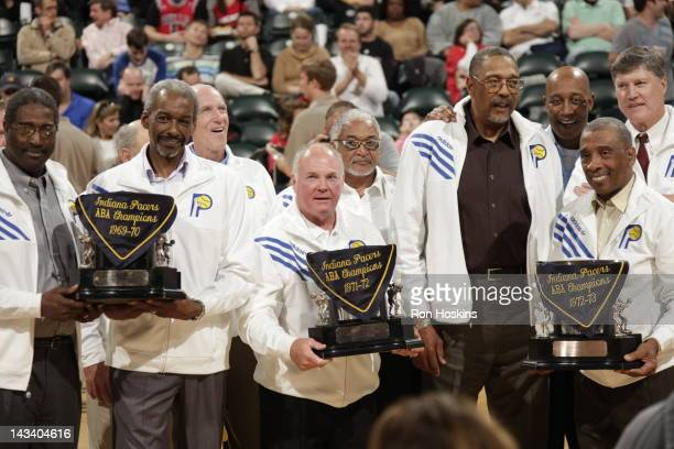 Indiana Pacers ABA champions are seen during the game between the Indiana Pacers and the Chicago Bulls on April 25 2012 at Bankers Life Fieldhouse in...