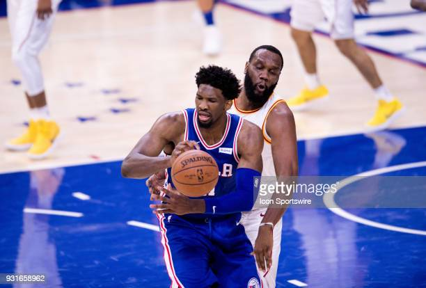Indiana Pacers Center Al Jefferson reaches in to tip the ball away from Philadelphia 76ers Center Joel Embiid in the second half during the game...