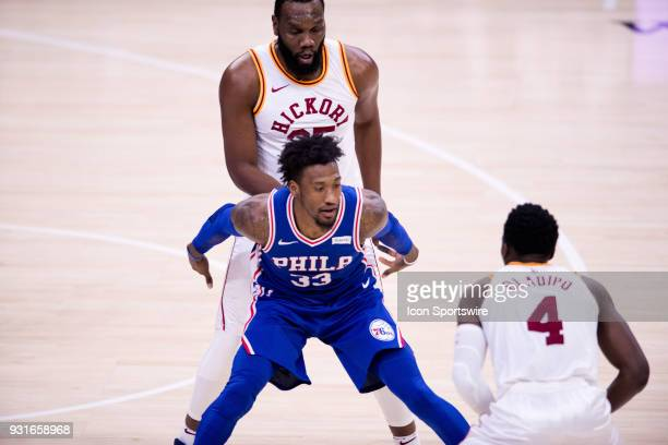 Indiana Pacers Center Al Jefferson sets a pick on Philadelphia 76ers Forward Robert Covington in the second half during the game between the Indiana...