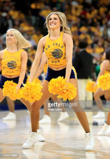 Indiana Pacers cheerleaders perform in the game against the Boston Celtics in game four of the first round of the 2019 NBA Playoffs at Bankers Life...
