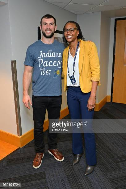 Indiana Pacers Director of Player Programs Tamika Catchings poses for a photo print to Game Four of Round One of the 2018 NBA Playoffs between the...