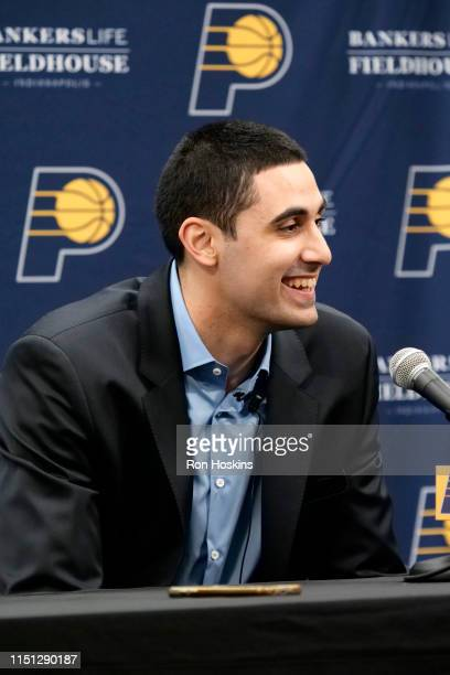 Indiana Pacers Draftee Goga Bitadze speaks with the media during a press conference on June 21 2019 at Bankers Life Fieldhouse in Indianapolis...