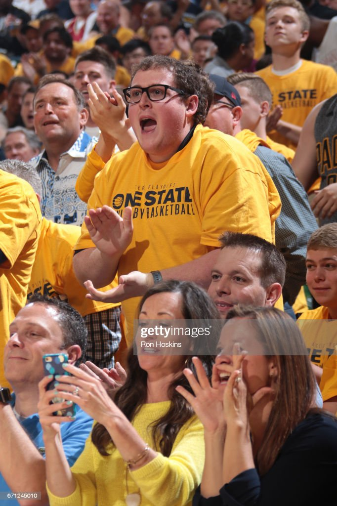 Indiana Pacers fans cheer during Game Three of the Eastern Conference Quarterfinals against the Cleveland Cavaliers during the 2017 NBA Playoffs at Bankers Life Fieldhouse on April 20, 2017 in Indianapolis, Indiana.