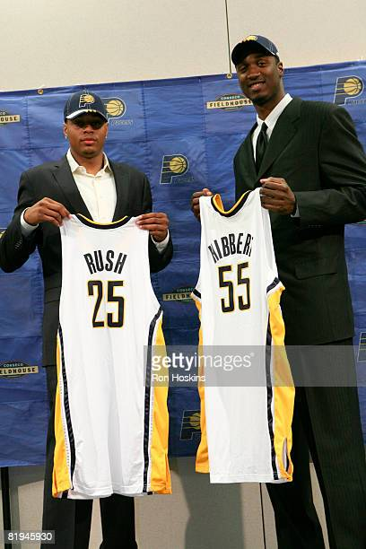 Indiana Pacers first round draft picks Brandon Rush and Roy Hibbert are introduced to the media at Conseco Fieldhouse on July 15, 2008 in...
