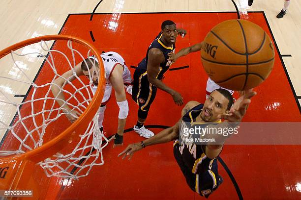 Indiana Pacers guard George Hill goes to the rim Toronto Raptors vs Indiana Pacers in 2nd half action of NBA 1st Round playoff matchup for Game 7...