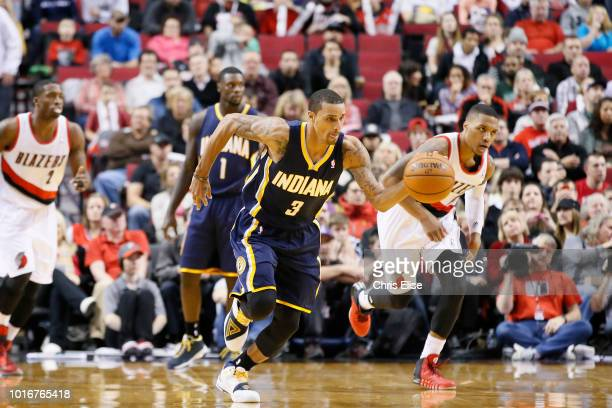 Indiana Pacers point guard George Hill brings the ball upcourt on the fast break during the Portland Trail Blazers 106102 victory over the Indiana...
