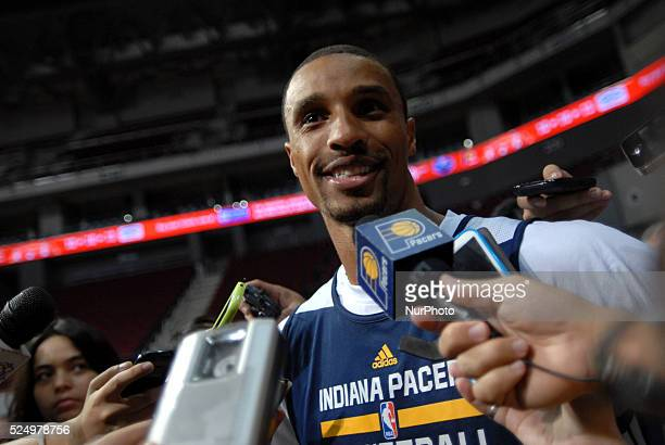 Indiana Pacers point guard George Hill speaks to reporters during their practice session and media day in Pasay city Metro Manila Philippines October...