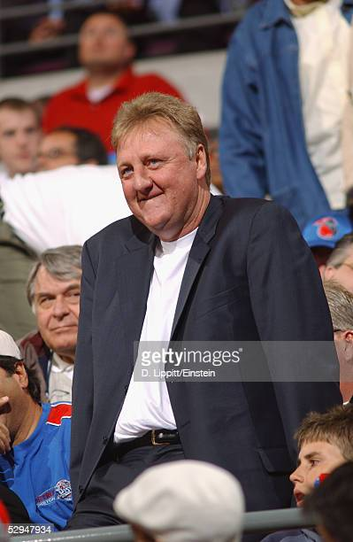 Indiana Pacers President of basketball operations Larry Bird watches the game against the Detroit Pistons in Game two of the Eastern Conference...