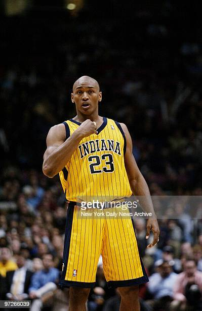 Indiana Pacers' Ron Artest is on the court during game against the New Jersey Nets at Continental Airlines Arena