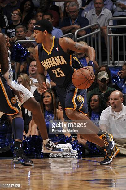 Indiana Pacers shooting guard Brandon Rush brings the ball up court during the game against the Orlando Magic on April 13 2011 at the Amway Center in...