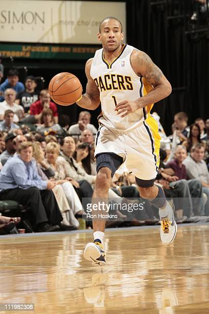 Indiana Pacers shooting guard Dahntay Jones brings the ball up court during the game against the New York Knicks on April 10 2011 at Conseco...