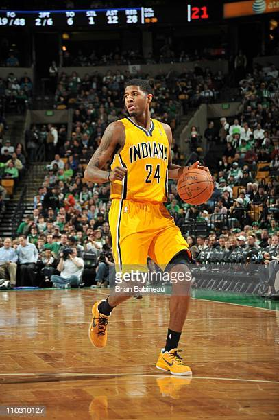 Indiana Pacers small forward Paul George brings the ball up court during the game against the Boston Celtics on March 16 2011 at the TD Garden in...
