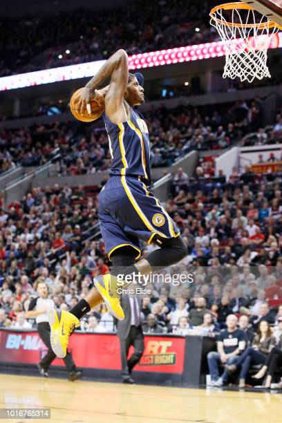 Indiana Pacers small forward Paul George dunks the ball during the Portland Trail Blazers 106102 victory over the Indiana Pacers at the Moda Center...