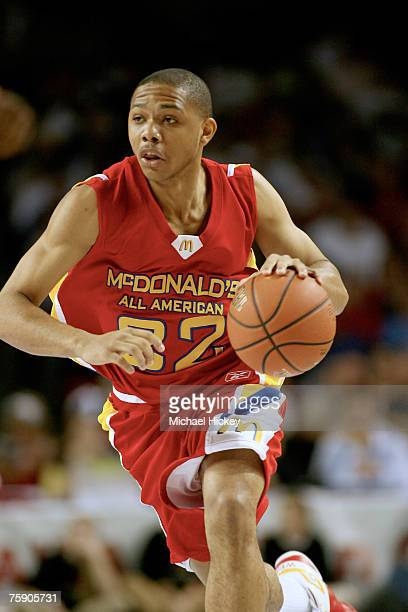 Indiana recruit Eric Gordon dribbles the ball upcourt during action in the McDonald's All American High School Basketball Team games at Freedom Hall...