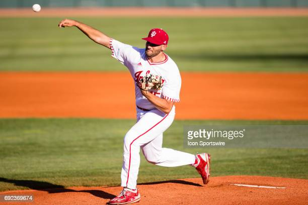 Indiana right handed pitcher Pauly Milto lets his first pitch go during the Lexington Regional College World Series baseball game between the Indiana...