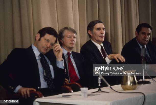 Indiana Senator Birch Bayh Governor Jimmy Carter US Representative Mo Udall Fred R Harris at campaign event ABC News coverage of the 1976 New...