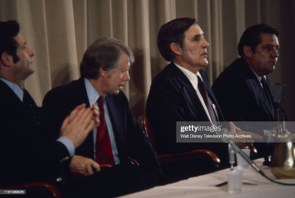Birch Bayh, Jimmy Carter, Mo Udall, Fred R Harris During 1976 New Hampshire Presidential Primary : News Photo