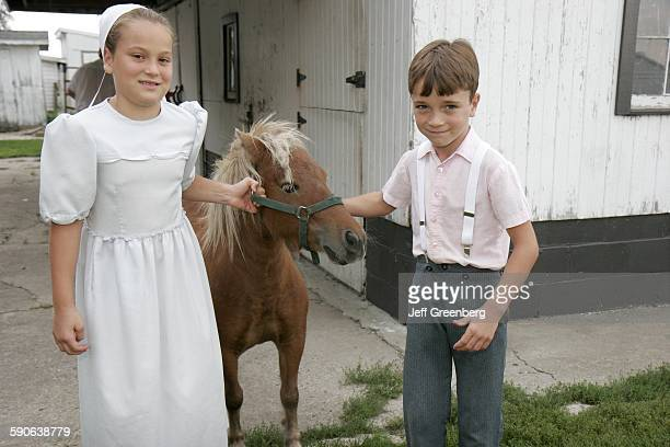 Indiana Shipshewana Amish Farm Tour Boy Girl Siblings Miniature Horse