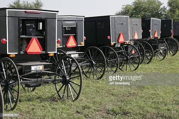 Indiana Shipshewana Farm Auction Parked HorseDrawn Amish Buggy