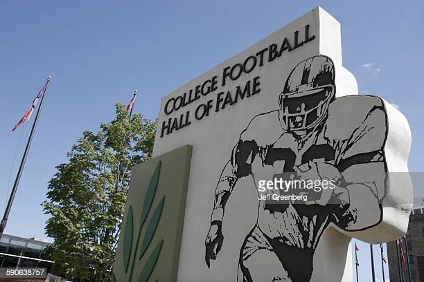 Indiana, South Bend, St Joseph Street, College Football Hall Of Fame Sign.