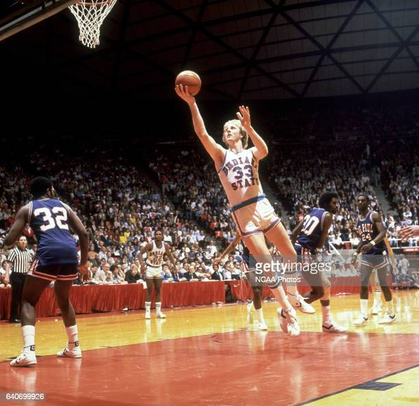 Indiana State forward/center Larry Bird goes to the basket against DePaul during the NCAA Photos via Getty Images Final Four Men's Basketball...