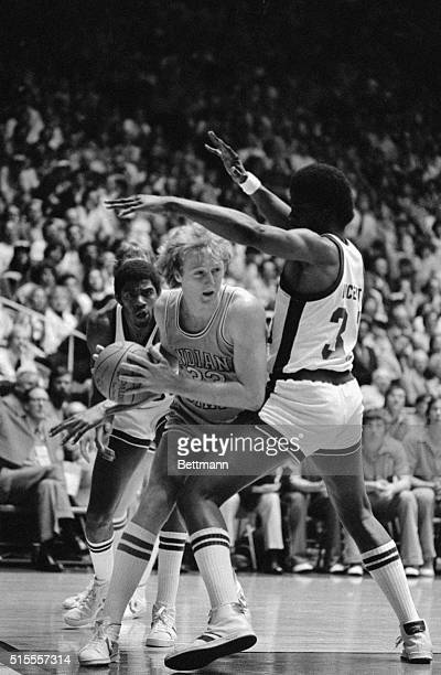 Indiana State star Larry Bird attempts to get around Michigan State forward Jay Vincent during the NCAA Final Four Championship in Salt Lake City...