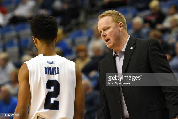 Indiana State Sycamores Assistant Coach Brett Carey talks to Indiana State Sycamores Guard Jordan Barnes during the Missouri Valley Conference...