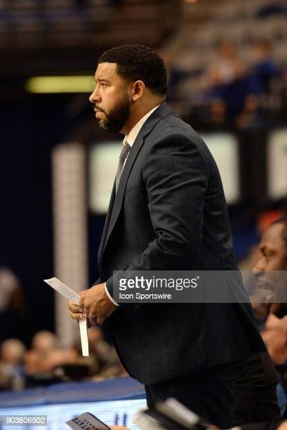 Indiana State Sycamores Assistant Coach Marcus Belcher looks on during the Missouri Valley Conference college basketball game between the Northern...