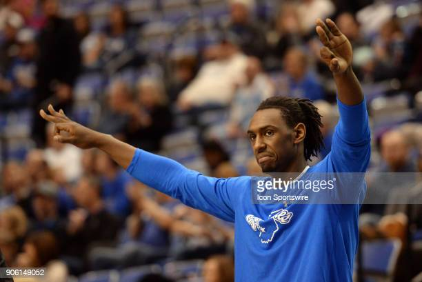 Indiana State Sycamores Center Emondre Rickman celebrates from the bench as a team mate drains a three point shot during the Missouri Valley...