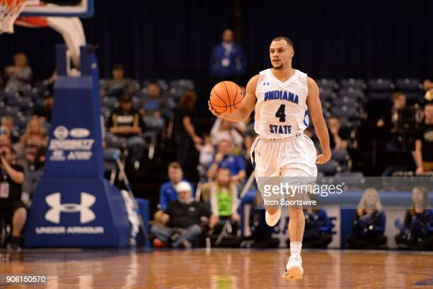 Indiana State Sycamores Guard Brenton Scott brings the ball up the court during the Missouri Valley Coference college basketball game between the...