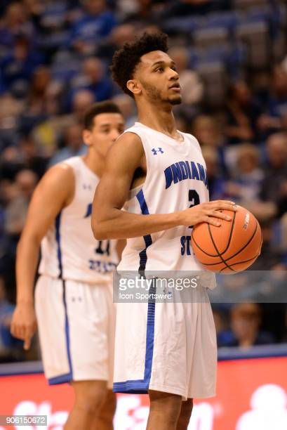 Indiana State Sycamores Guard Jordan Barnes shoots a free throw during the Missouri Valley Coference college basketball game between the Northern...