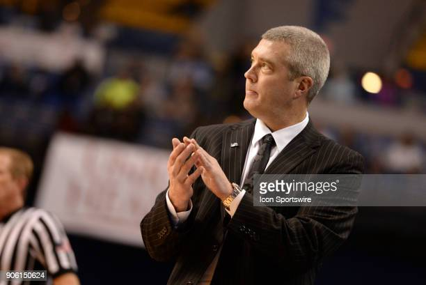 Indiana State Sycamores head coach Greg Lansing cheers for his team during the Missouri Valley Coference college basketball game between the Northern...
